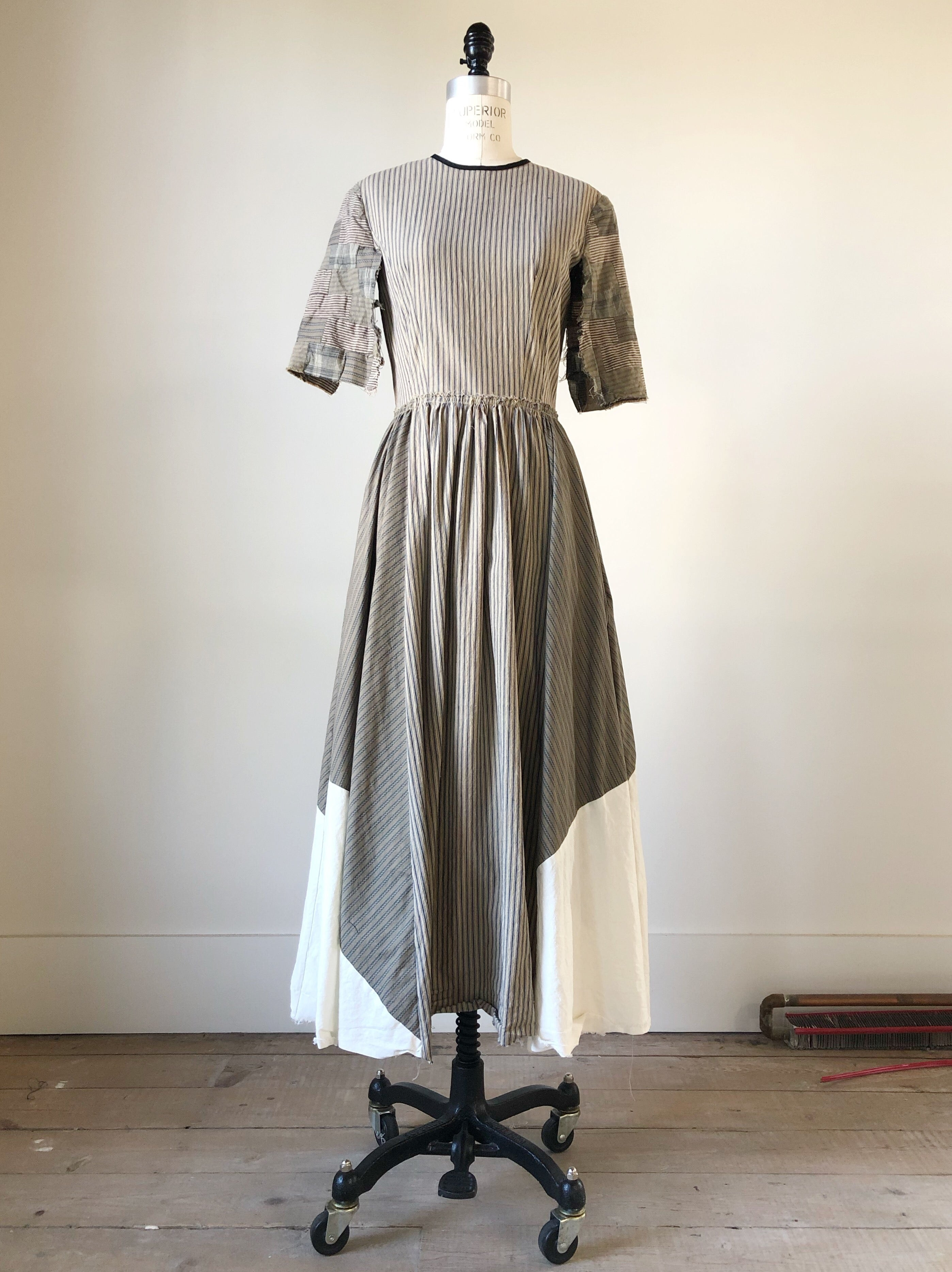 bargello sleeve patched ticking marianne dress