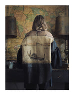 venice tapestry and leather big shirt jacket
