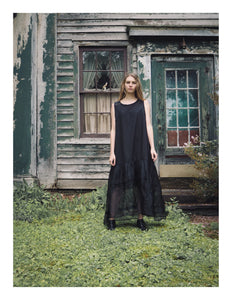 black cotton organdy and silk organza summer dress