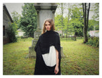 recycled silk chiffon and black cotton jersey summer wrap