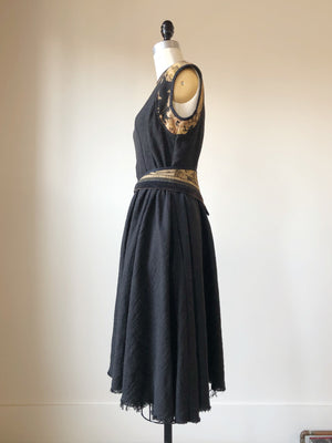 felted linen and wool patched jacquard dress