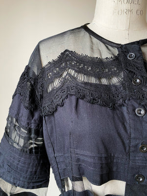 victorian hand pin tucked and patched shirt jacket