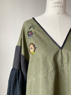 embroidered army salvage top