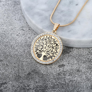 Pendant Necklaces - Tree Of Life Crystal Round Pendant Necklace