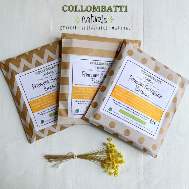 Collombatti Naturals Australian natural Beeswax in plastic-free packaging