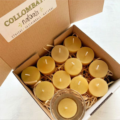 Collombatti naturals Australian handmade tea light candle sets with glass votive
