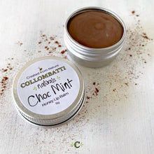 Load image into Gallery viewer, Collombatti Naturals Raw Honey and Choc Mint natural lip balm in aluminium container