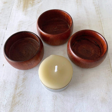 collombatti naturals wooden candle holder