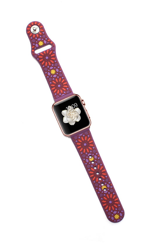 Kaleidoscopic Multi-Faceted Apple Watch Band- Purple/Red