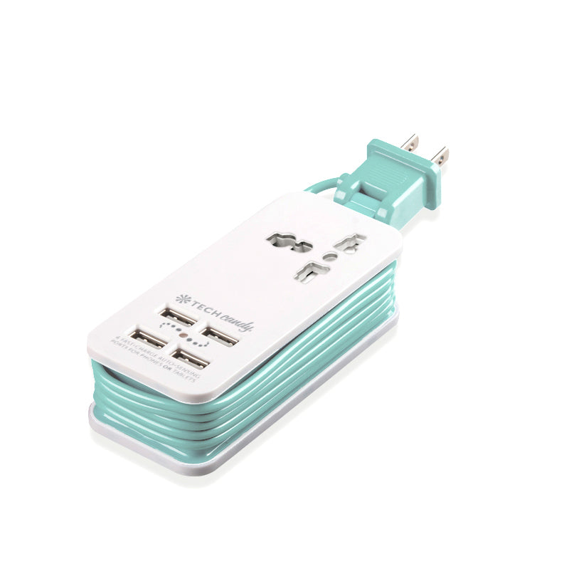 Power Trip Outlet + USB Port Travel Charging Station-White/Light Mint