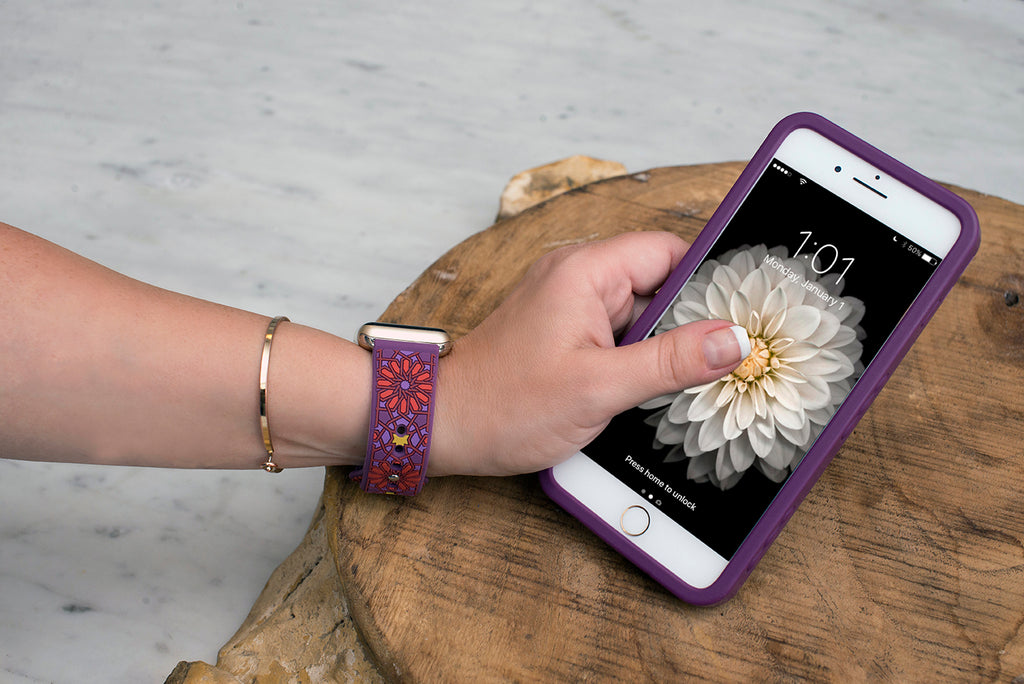 Kaleidoscopic Multi-Faceted Apple Watch Band on wrist