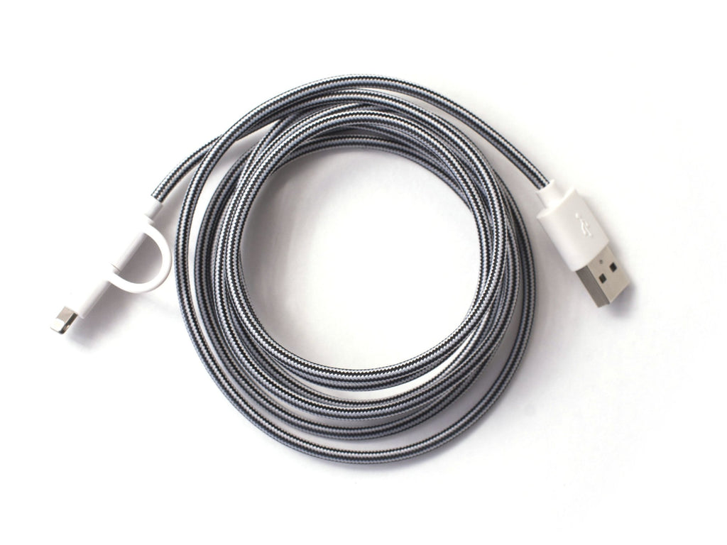 Dynamic Duo Woven USB Cable Black Night/Cloud