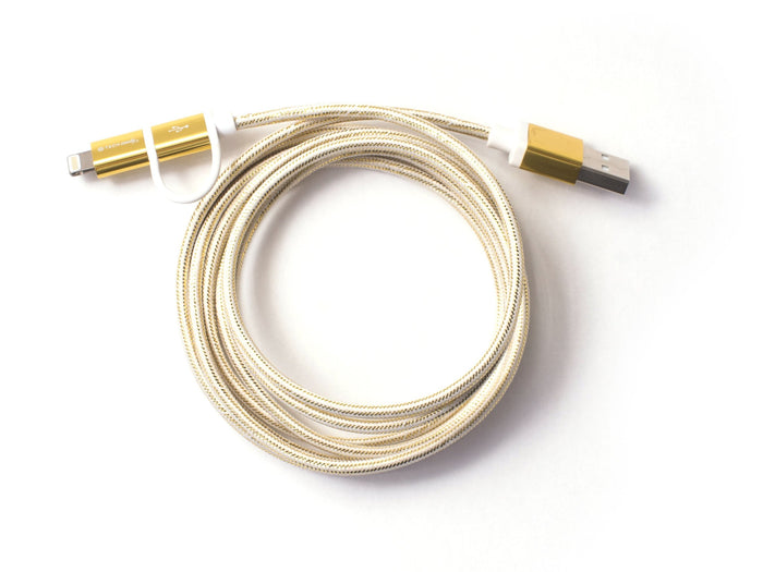 Dynamic Duo Woven USB Cable Gold/Cloud
