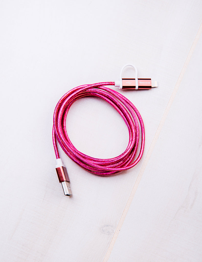 Dynamic Duo Woven USB Cable Rose Gold/Rose