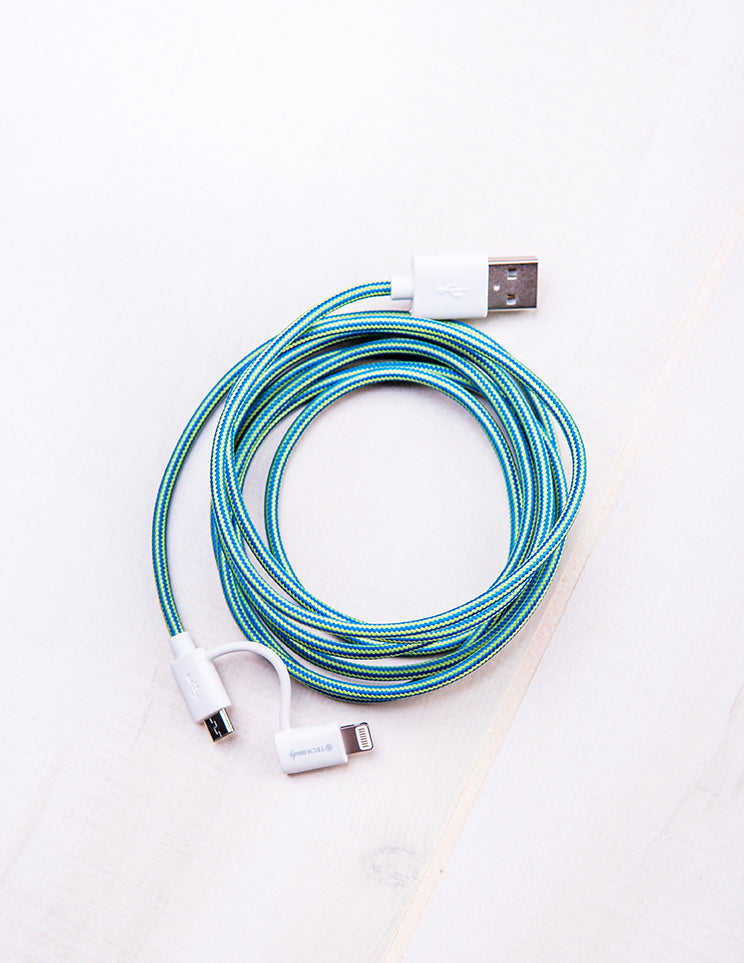 Dynamic Duo Woven USB Cable True Blue/Green Apple
