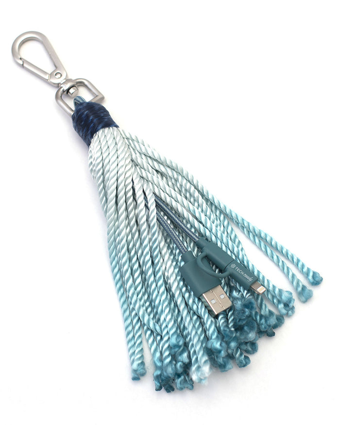 The Fringe Benefit Woven USB Cable + Tassel : Blue