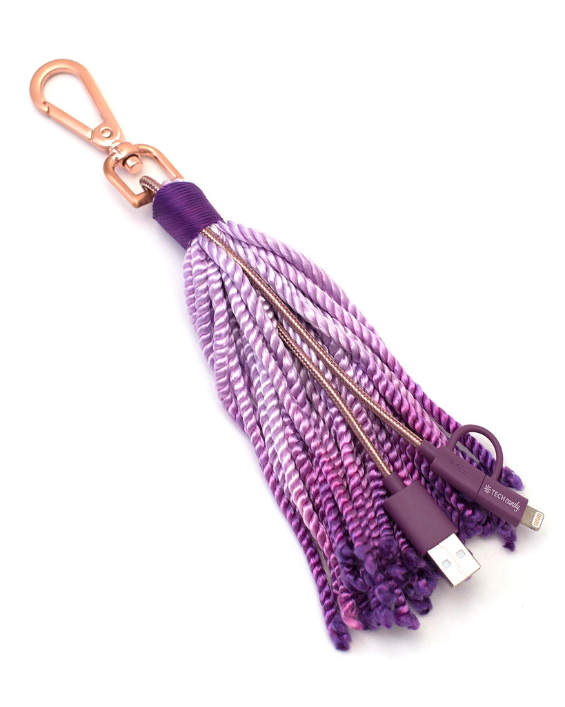 The Fringe Benefit Woven USB Cable + Tassel : Purple