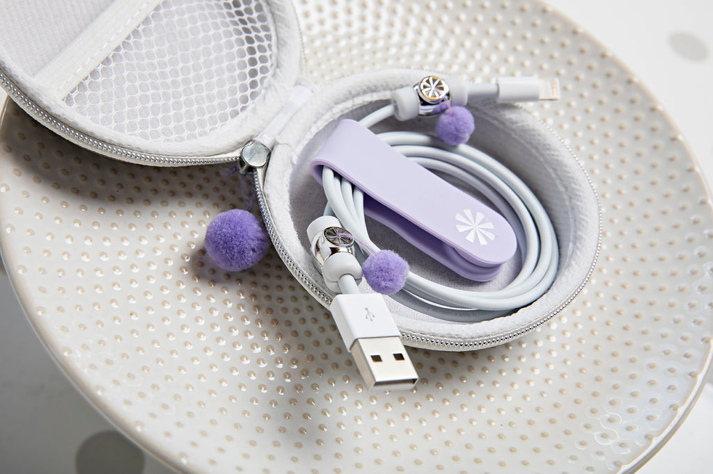 Close up of Cord Order 4-Piece Gift Set : Platinum/Lavender