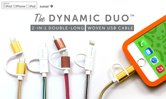 Dynamic Duo 2-in-1 Woven USB Cables