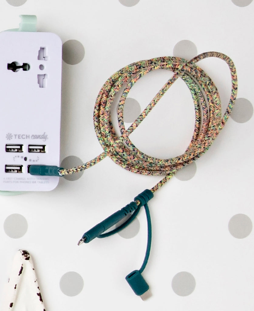 Triple Header Maxi 6ft Woven USB Cable Confetti Colors in use