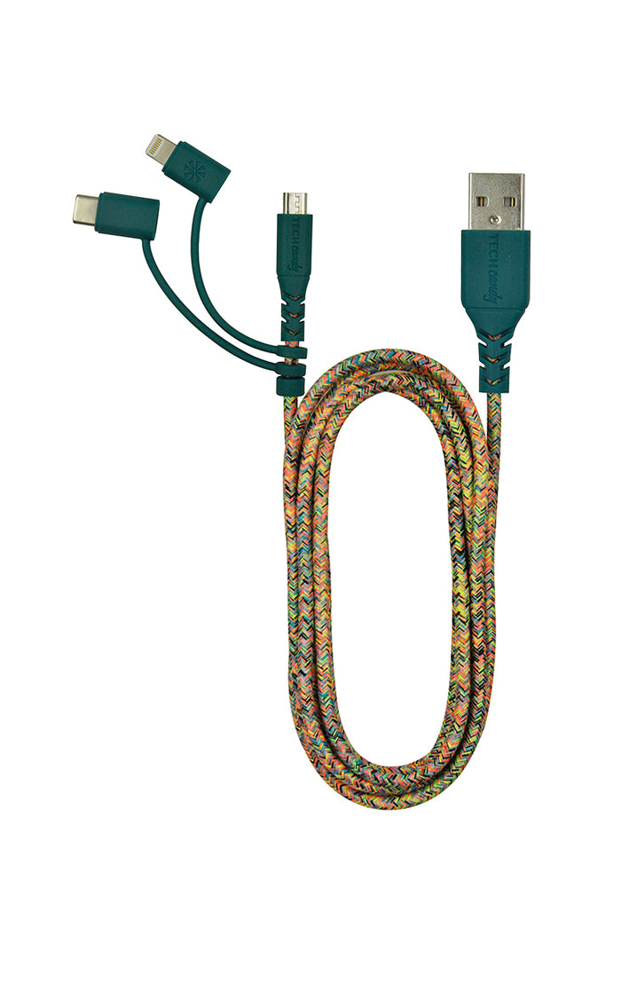 Triple Header Maxi 6ft Woven USB Cable (MFi) : Confetti Colors