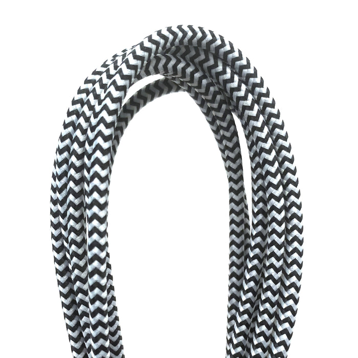 Triple Header Maxi 6ft Woven USB Cable (MFi) : Black White