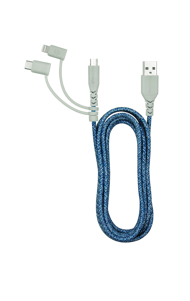 Triple Header Maxi 6ft Woven USB Cable (MFi) : Shades of Blue