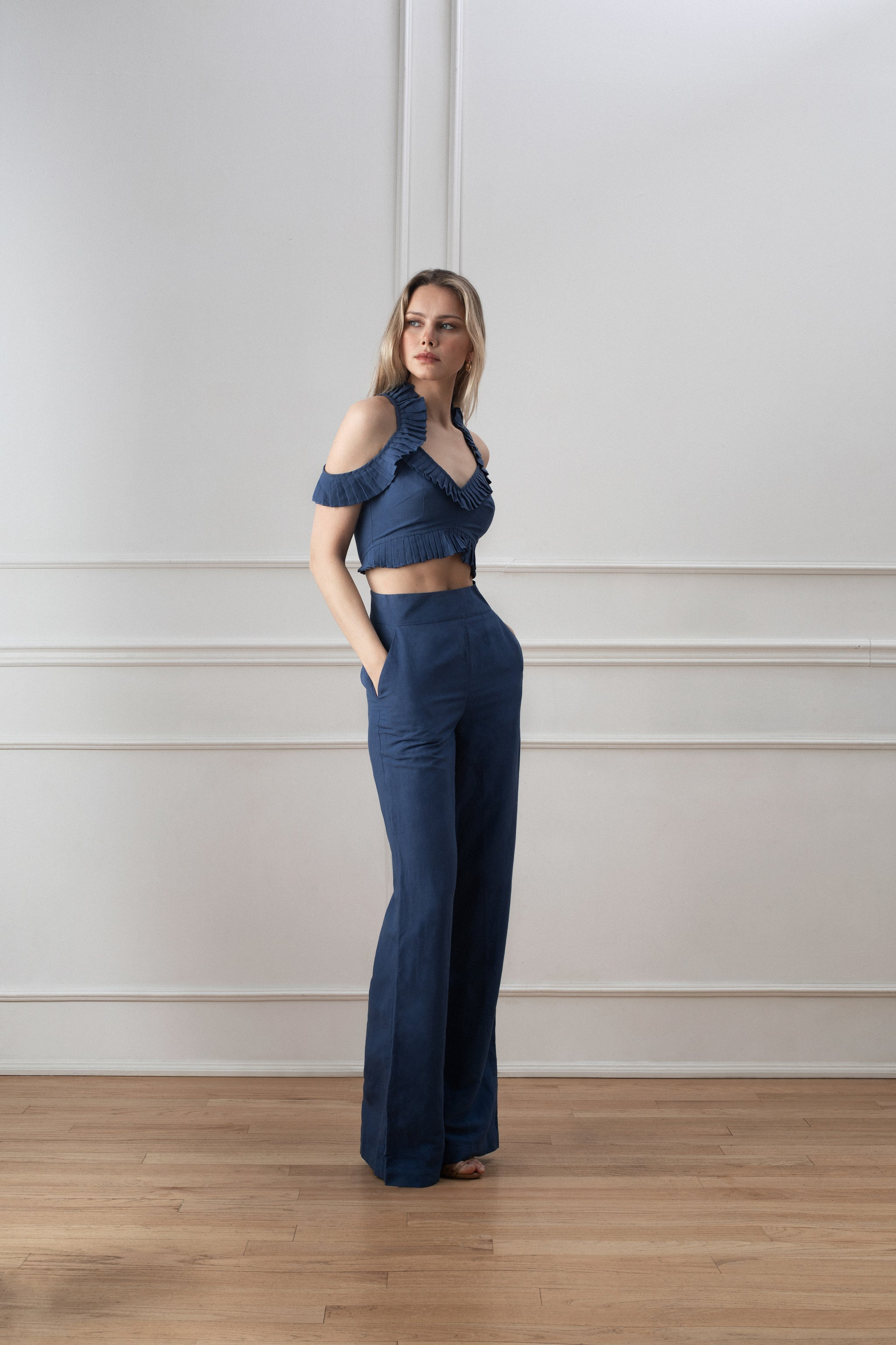 Selia Jumpsuit - Dusty Blue Linen