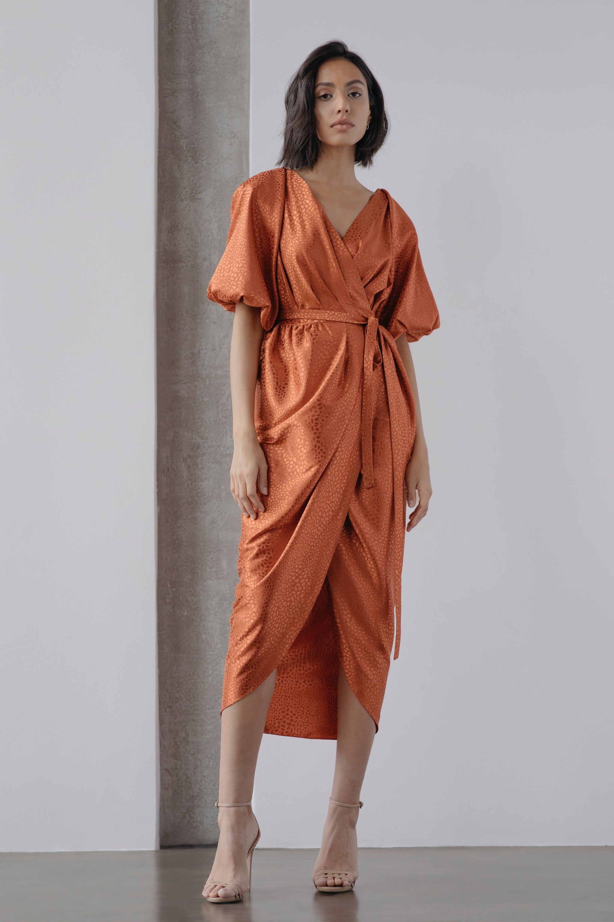 Bloom Squash Jacquard Draped Wrap Dress