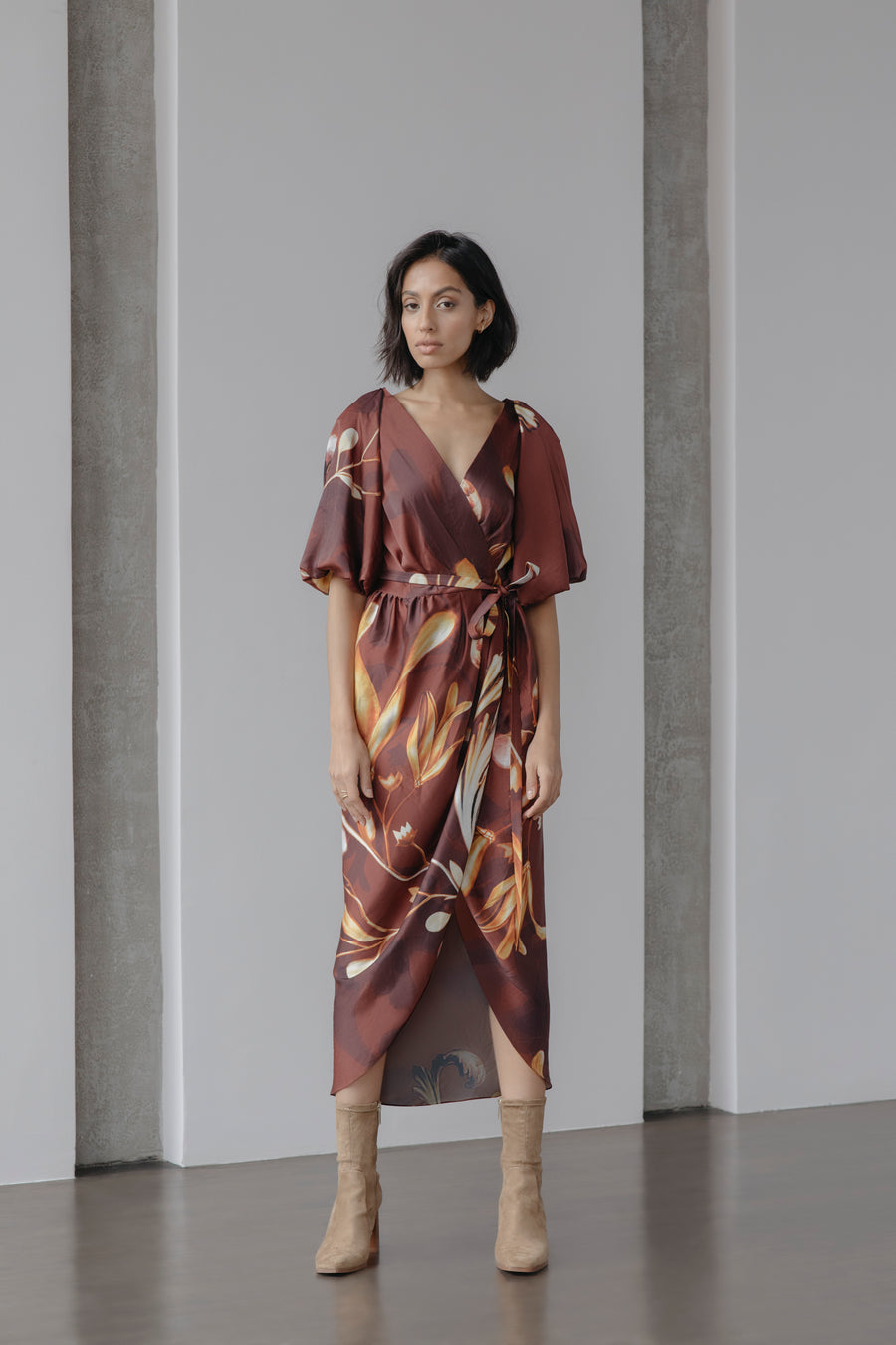 Bloom Narrative Draped Wrap Dress