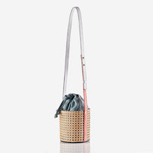 Kaia Rattan - Petrol Drawstring Bucket Bag