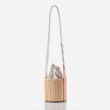 Kaia Rattan - White Drawstring Bucket Bag