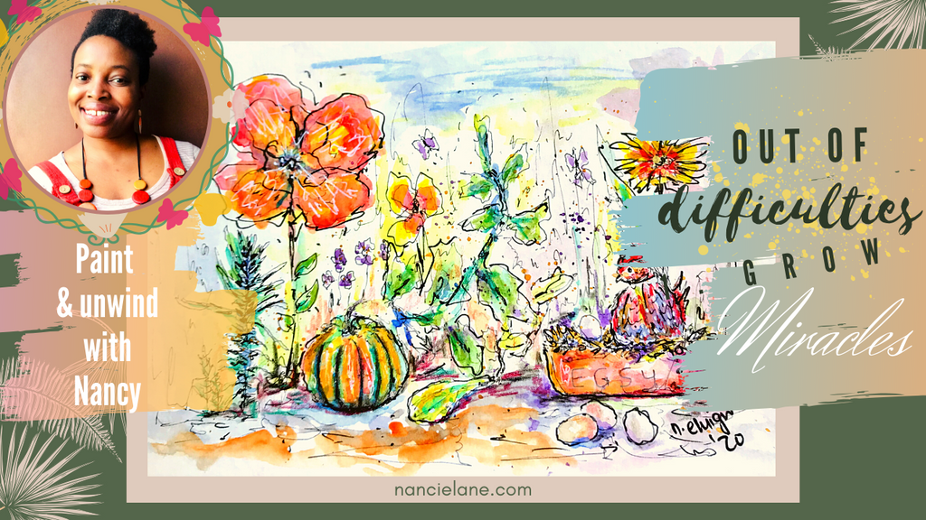 Paint with me: Whimsical watercolour garden / exploring miracles from difficulties