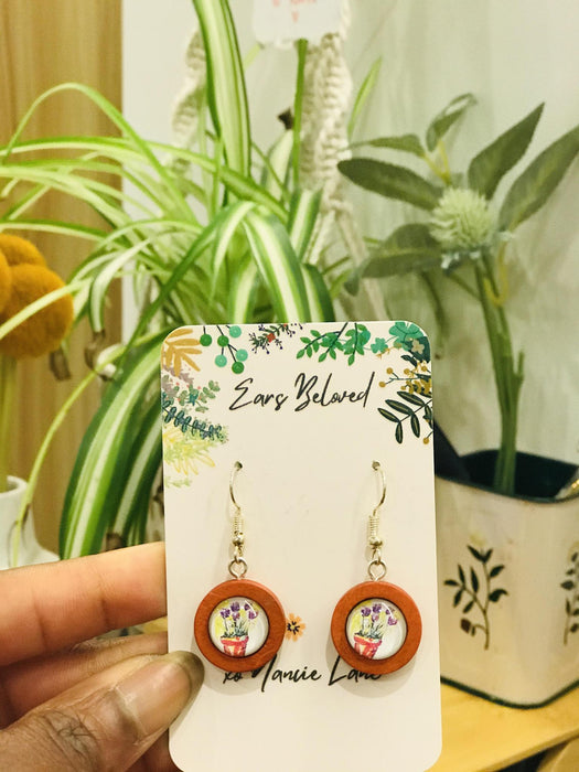 Ears Beloved Single Wooden Drop Earrings with Art