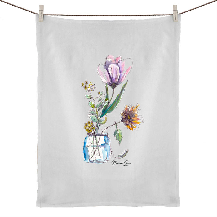 Tulip in a vase print 50% Linen 50% Cotton Tea Towel