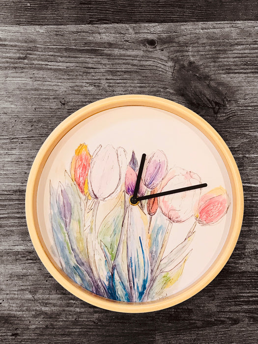 Beautiful Watercolour Tulips Design Clock