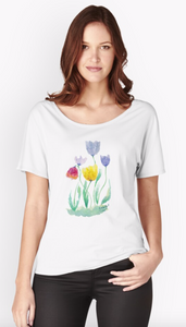 Delicate Watercolour Tulip Print Relaxed Fit T-Shirt for Women