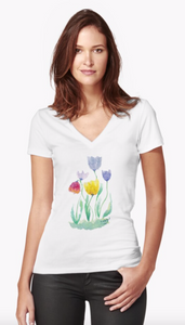 Delicate Watercolour Tulip Print Fitted V-Neck T-Shirt for Women