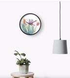 Beautiful Watercolour Tulips Design Clock - Nancie Lane
