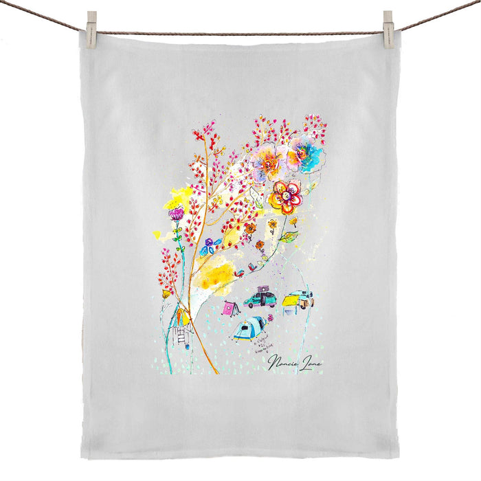 Getaway Bliss Print 50% Linen 50% Cotton Tea Towel