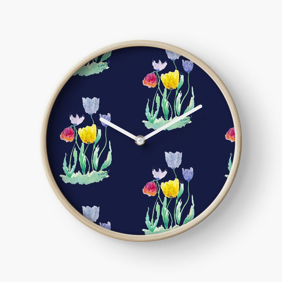 Delicate Watercolour Tulips Clock