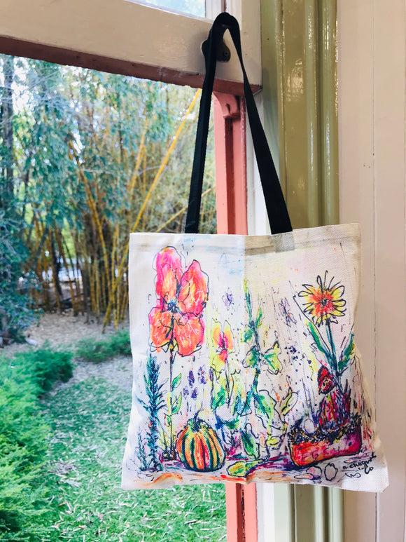 Home Garden All Over Print Linen Tote Bag