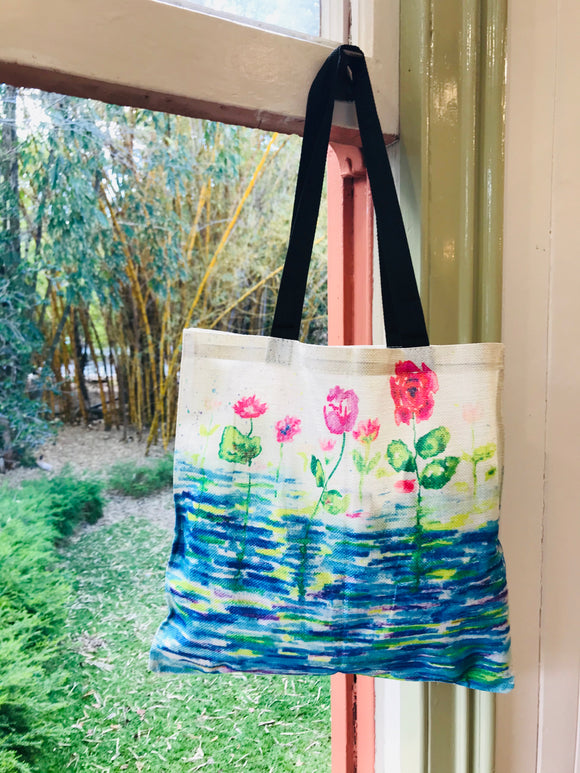 Peaceful Lake All Over Print Linen Tote Bag