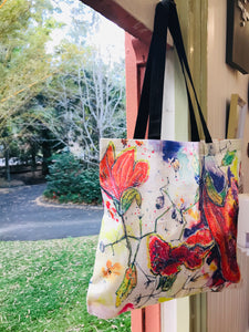 African Tulips Linen All Over Print Tote Bag