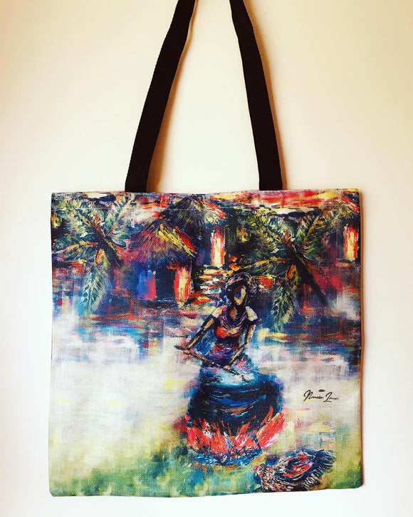 Sunset Feast Linen All Over Print Tote Bag