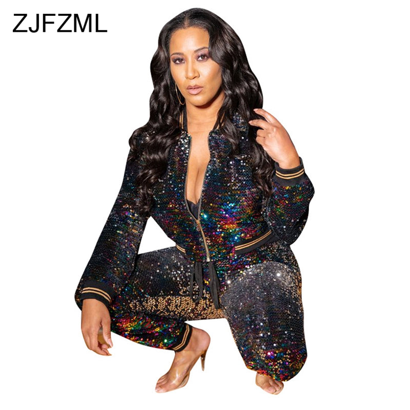Sparkling Sequined Women s Tracksuit Stand Collar Full Sleeve Jacket  Top+Fitness Pants Casual Outfit Autumn cc4126ba8de1