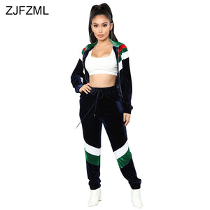 ZJFZML Plus Size Velvet Two Piece Set Women Zip Long Sleeve Jacket Tops+Loose  Pants 96789e63575c
