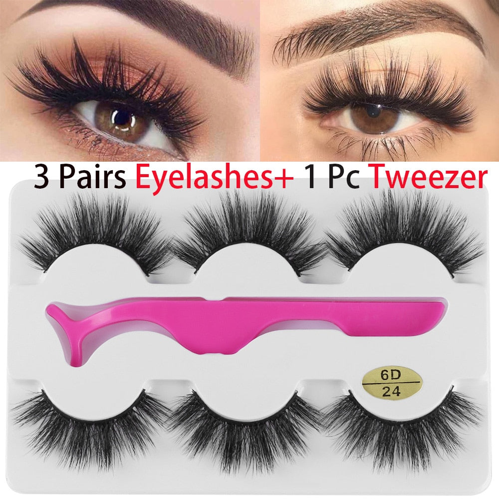 2853a154fe1 3 Pairs False Eyelashes Wispy Fluffy Thick Long Fake Eye Lashes With 1 Pc  Tweezer Handmade Natural Eye Extension Beauty Tools