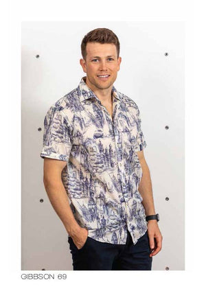LFD Vintage Gibbston Short Sleeve Shirt - Navy