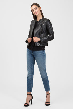 Pepe Jeans EmmyLou Leather Jacket - Black